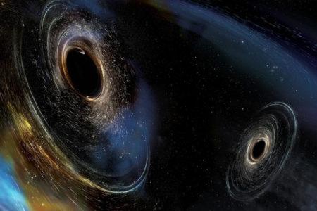Ilustración artística de los agujeros negros cuyas colisiones formaron las ondas gravitacionales detectadas por el observatorio LIGO. / Imagen: LIGO